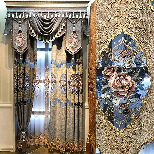 Hoogwaardige Europese pastorale gordijnen voor woonkamer holle chenille gordijnen voor slaapkamer borduurwerk gordijn tule, gordijn, B500cmxH250cm