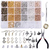 Tubala 2193 Pcs Earring Making Supplies Kit with Open Jump Rings, Fish Earring Hooks, Earring Safety Backs,...