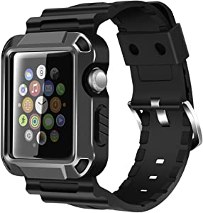 iiteeology Replacement for 38mm Rugged Protective iWatch Case and Band with Built-in Screen Protector Compatible with Apple Watch Series 3/2/1 - Space Gray