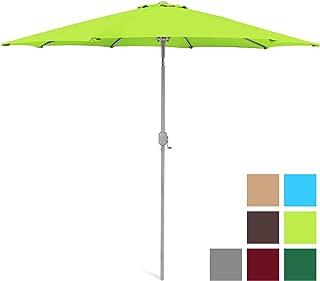 Best Choice Products 9ft Outdoor Water/UV-Resistant Market Patio Umbrella w/Crank Tilt Adjustment, 180G Polyester, Wind Vent, 1.5in Diameter Aluminum Pole - Light Green