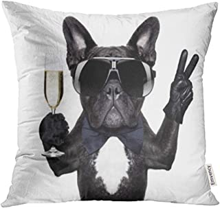 Emvency 18x18 Inch Throw Pillow Covers Decorative Case Birthday French Bulldog with Champagne Glass and Victory Peace Fingers Happy Cover Square Pillowcase Cushion Cases Print On Two Sides