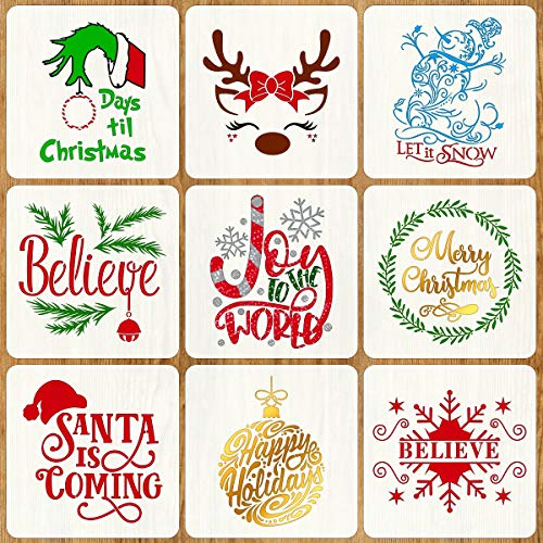 9 PCS Christmas Stencils for Painting on Wood 12 Inches Reusable Floor Tile Stencil for Christmas Decor Fabric Canvas Wall Painting Templates
