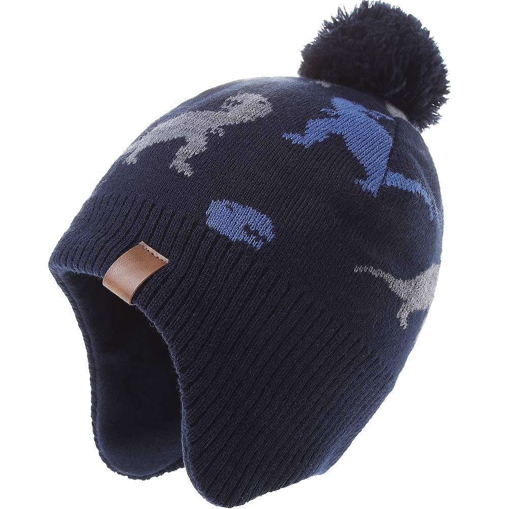 Kids Hiver Earflap Bonnet Chapeau Pompon Chapeaux Tricotés pour Garçons et Filles