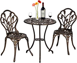 Babody Outdoor Patio Furniture, European Style Cast Aluminum Outdoor 3 Pcs Patio Bistro Set of Table and Chairs for Backyard Courtyard Pool