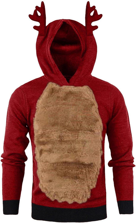 Hoodies for Men Christmas Funny Reindeer & Antlers Sweatshirts, Men Winter Xmas Hoody Feather Hooded Christmas 3D Blouse Tops