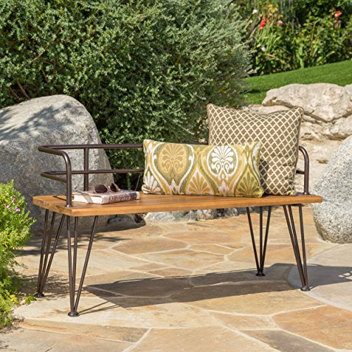 Herres Outdoor Industrial Rustic Finshed Iron and Teak Finished Acacia Wood Bench