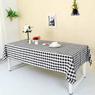 Zdada 72 by 72Inch Square Polyester Plaid Checker Table Cloth Black and White for Home Kitchen Outdoor