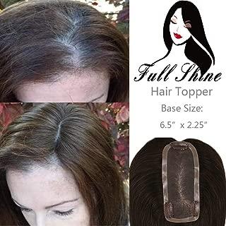 Full Shine Human Hair Silk Skin Top Parting Closure Hair Topper Pieces For Women Thin Hair 12 Inch Color #4 Medium Invisible Brown Human Hair Crown Extension 6.5x2.25
