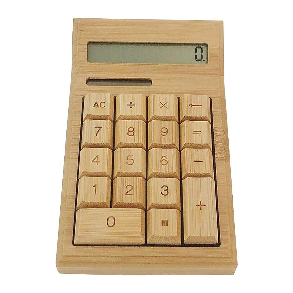 注入蛇行タイプライター竹製電卓 12桁 実務電卓 太陽エネルギー電卓 デスクトップタイプ 大型LCDディスプレイ ポータブル