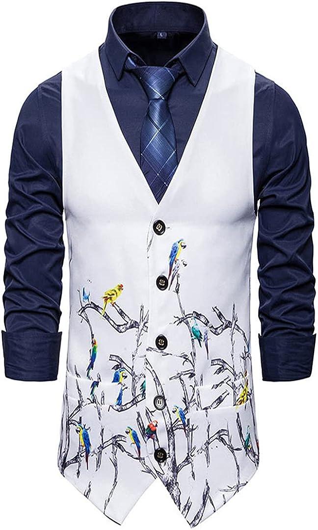 Mens Slim Fit Casual Suit Vest Men's 3d Printing Party Jacket Vest Wedding Waistcoat For Men