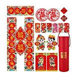 HQQ Un conjunto de 14 decoraciones de año nuevo chino, con pareadas chinas, pegatinas de pared de bendición tridimensionales, sobres rojos, pegatinas de ventanas, dioses de la puerta, para suministros