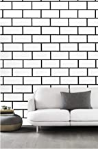 Dwind D9260 Faux Brick Peel and Stick Wallpaper 1.48ft x 9.8ft Self Adhesive White Brick Pattern Wallpaper for Furniture K...