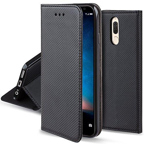Moozy Funda para Huawei Mate 10 Lite, Negra - Flip Cover Smart Magnética con Soporte y Cartera para Tarjetas