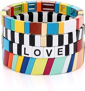 HZEYN Enamel Tile Bracelet Stackable Rainbow Tile Bead Love Stretchy Bracelet Colorblock Enamel Brite Bracelet for Women Set of 4 Strands