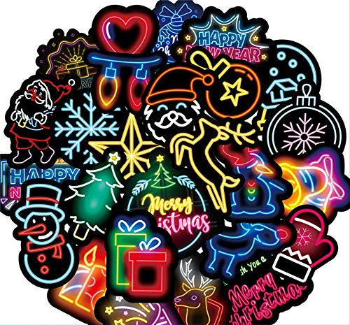 50pcs Neon Happy New Year Stickers Sets for Laptop Fridge Phone Guitar Stickers Pack