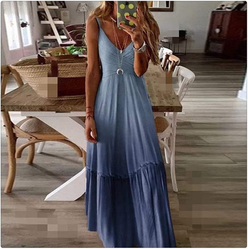 KAKAYO Spring and Clearance SALE Limited online shopping time Summer Women V-Neck Gradient C Loose-Fit Dress