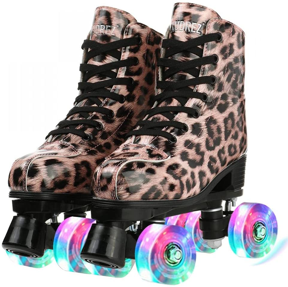 Roller Over item handling Skates for Women Unisex Free Shipping Cheap Bargain Gift Leather PU Leopard
