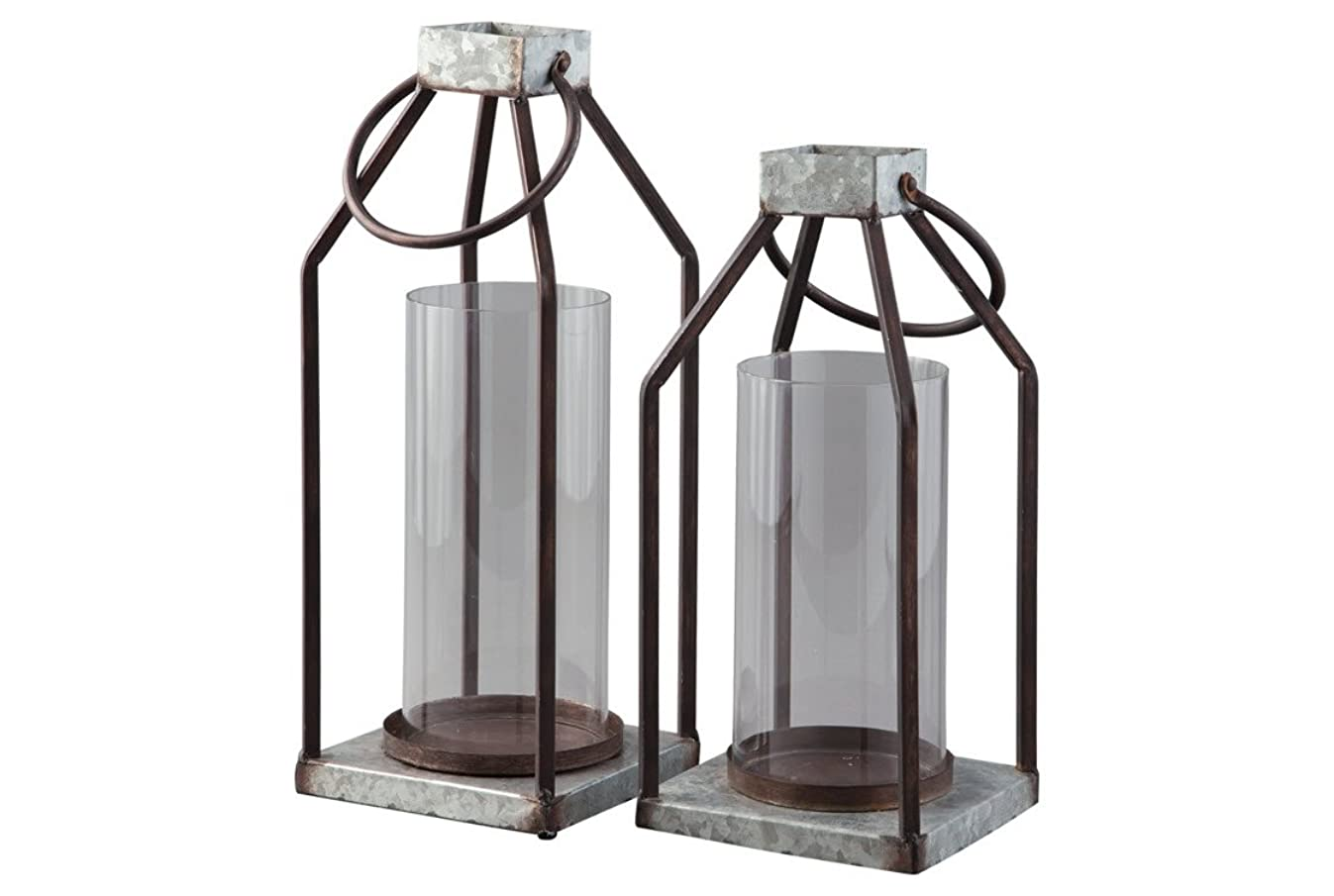 Signature Design by Ashley Diedrick Set of 2 Lanterns - Casual, Large, Gray/Black