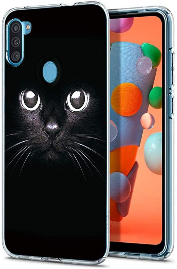 Eouine for Samsung Galaxy A11 Case, Phone Case Transparent Clear with Pattern Ultra Slim Shockproof Soft Gel TPU Silicone Back Cover Bumper Skin for Samsung Galaxy A11 Smartphone. (Black cat)