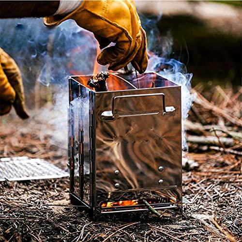 BLLJQ Plegable Acero Inoxidable Estufa De Cohete, Estufa De Leña Camping con Estuche, para Mochileros, para Picnic, Barbacoa, Campamento, Senderismo
