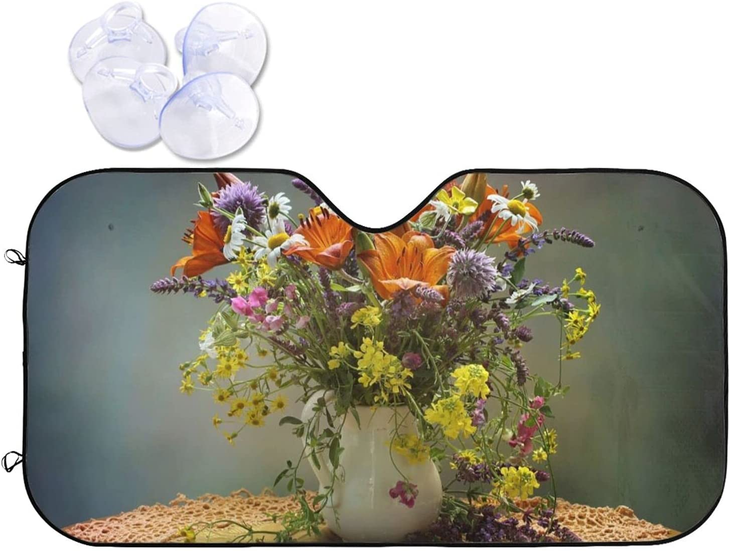KXT Outlet SALE Windshield Sun Shade Flowers Foldable Car Window Sunsh Time sale Front