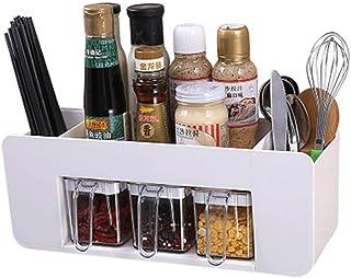 Pots à épices pour support d'assaisonnement, organisateur à 3 compartiments de rangement avec tiroir, support de rangement...