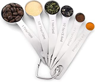 6 in 1 Stainless Steel Measuring Spoons for Kitchen Dry and Liquid Ingredients