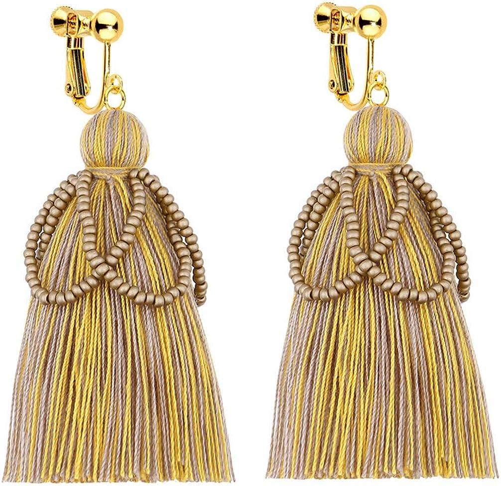 Clip on Dangle Seed Beaded Earrings Bohemian Handmade Long Threads Tassel Boho Women Girls Fringe