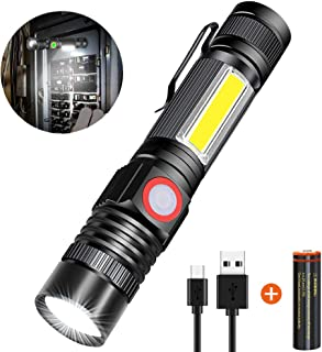 Rechargeable Flashlight(Battery included), Magnetic Flashlight with COB sidelight,Super Bright Cree LED,Waterproof,Zoomable,Best Camping,Emergency Flashlight