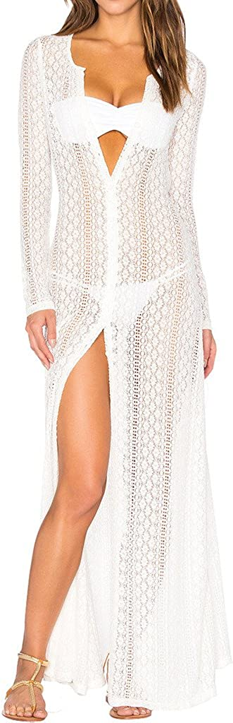 Ayliss Women's Lace Long Kimono Cardigan Maxi Bikini Swimsuit Cover Up Floral Sexy Beach Cover Up Dress Bathing Suit