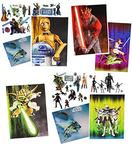 alles-meine.de GmbH 1 Set _  Star Wars / Clone Wars  - Grußkarte / Glückwunschkarte - mit Umschlag & Sticker - Geburtstagskarte / Karte - Starwars - Sith - Yoda - Jedi - R2 D2 ..