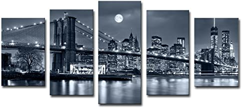 Noah Art-Modern Bridge Artwork, Brooklyn Bridge New York Night View Landscape Wall Art Black and White Architecture Pictures on Canvas Print, Large 5 Pc Cityscape Art Framed Home Decor for Living Room
