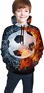 Cyloten Kid's Sweatshirt Soccer Ball in Fire and Water Novelty Hoodies Comfortable Warm Hooded Top Sweatshirt
