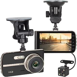 HAITRAL NX-ECDCG01SD-Bk Dash Cam Dashboard Camera with Backup Camera 4.0'' IPS Screen HD 1080P DVR Loop Recording 140 Degree Wide Angle Car Recorder G-Sensor Night Vision Parking Mode Motion Detection