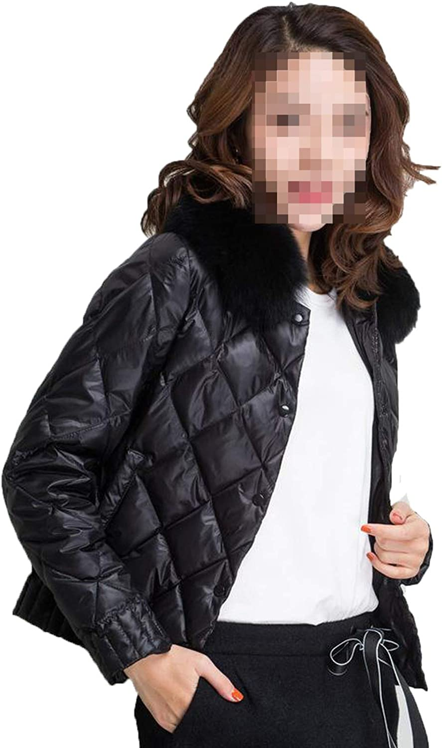 Women Down Jacket Winter Warm Ultra Light Real Collar Short Jacket White Duck Down Parka