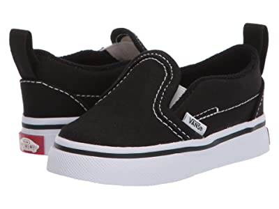 Vans Kids Slip-On V (Infant/Toddler) ((Canvas) Black/True White) Kids Shoes