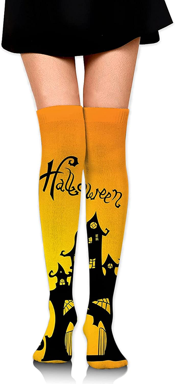 Halloween Pumpkin Bat House Women Knee Thigh Socks,Suitable for Sport Warm Stocking Boot Sock