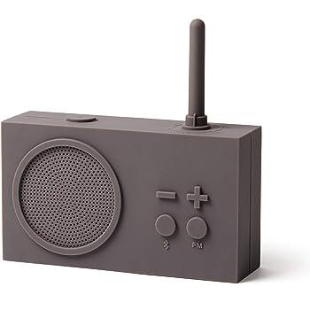 Lexon Tykho 3 FM Radio, Bluetooth Speaker, 5W, Splash Proof IPX4, Autonomy 20 Hours, Silicone Rubber Case - Warm Grey