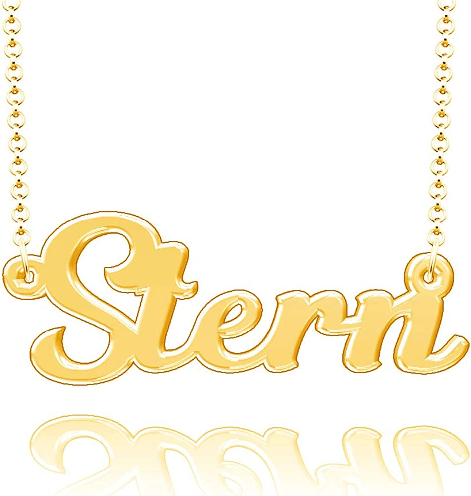 LoEnMe Jewelry Personalized Stern Name Necklace Stainless Steel Plated Custom Made of Last Name Gift for Family