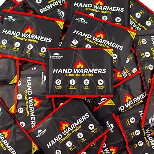 BetterDay® Handwärmer mit Bezug 100{fe76219aec396019ba536abe3d5bfd10e7bdc1a41b6d4074e67391f1c6481d06} natürlich - 80 Taschenwärmer (40 Paar) bis zu 62°C für bis zu 10 Stunden warme Hände - Wärmer Wärmekissen Gross Einmal - Handwärmer Vorteils-Pack