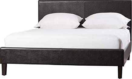 A to Z Furniture - Modern Faux Leather Platform Bed Queen in Brown Color With Mattress