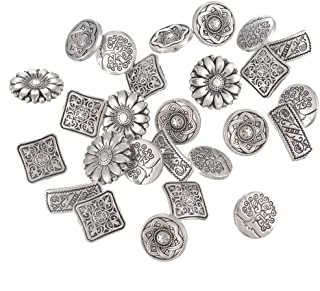 EORTA 50 Pieces Antique Metal Buttons with Shank Round/Square/Flower Shaped Decorative Button for Sewing, Crafting, Scrapb...