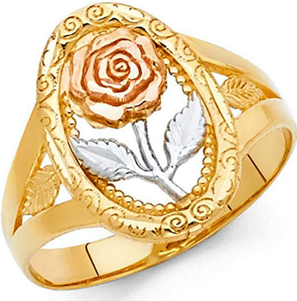 18K Gold Plated Oval Shape Signet Style Rose Flower Statement Promise Ring