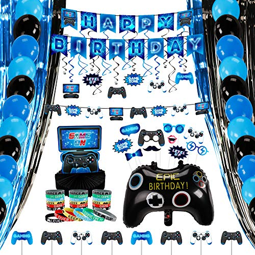Decorlife Video Game Party Supplies, Birthday Decorations for Boys, Total 99PCS, Including Birthday Balloons, Pre-strung Happy Birthday Banner, Video Game Controller Balloons, Party Favors, Cupcake Toppers, Fringe Curtains, Photo Booth Props, Hanging Swirls, Honeycomb Centerpiece