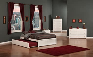 Atlantic Furniture Concord Platform Bed with Twin Size Urban Trundle, Full, White