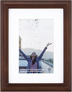 RPJC 6x8 Picture Frame Made of Solid Wood and High Definition Glass Display Pictures 4x6 with Mat or 6x8 Without Mat for Wall Mounting Photo Frame Brown