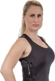 CCW Tactical Holster Shirt Tank Top for Concealed Carry and Workout - Womens Compression Fit with Right and Left Hand Draw Handgun and Magazine Pockets, All Season Moisture Wicking, Black
