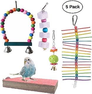 Vehomy Pack of 5 Bird Chewing Toy Bird Hanging Bell Bird Ladder Pet Bird Hammock Swing for Parakeets, Cockatiels, Macaws, Parrots, Love Birds, Finches
