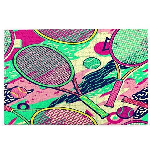 SUHOM Rompecabezas de Imágenes 1000 Piezas,Diseño Colorido de Memphis de la Pelota de Tenis de la Raqueta,Regalo Ideal Gracioso Juego Familiar Decoración para el Hogar Colgante,29.5' x 19.7'