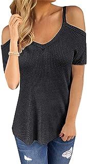 CNFIO Maglia Manica Lunga Donna Maglietta Rotondo Maniche Lunghe Maglieria Basic Shirt Eleganti Lady Top Casual Camicetta ...